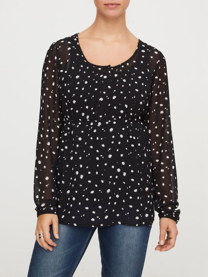 WOVEN NURSING TOP, LONG SLEEVED, Black, large