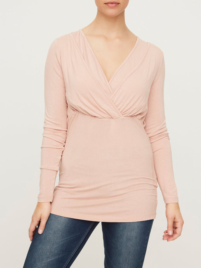 JERSEY NURSING TOP, LONG SLEEVED, Misty Rose, large