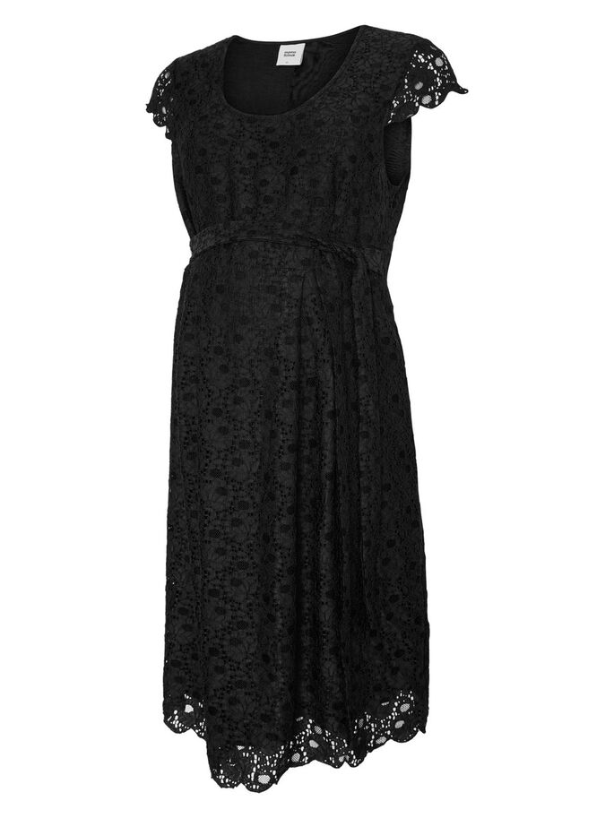 LACE MATERNITY DRESS, Black, large