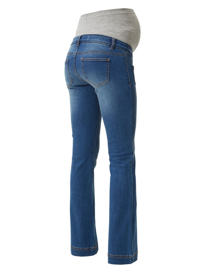 FLARE MATERNITY JEANS, Medium Blue Denim, large