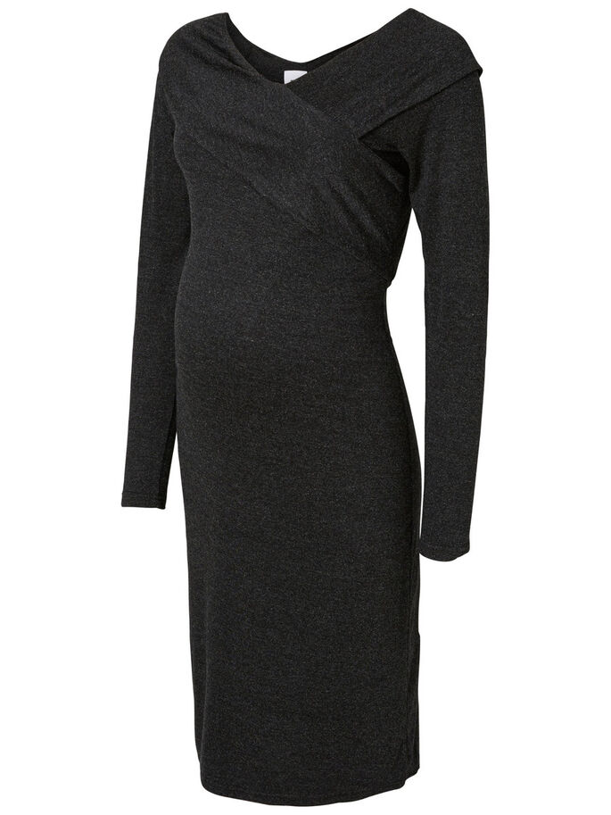 JERSEY MATERNITY DRESS, Dark Grey Melange, large