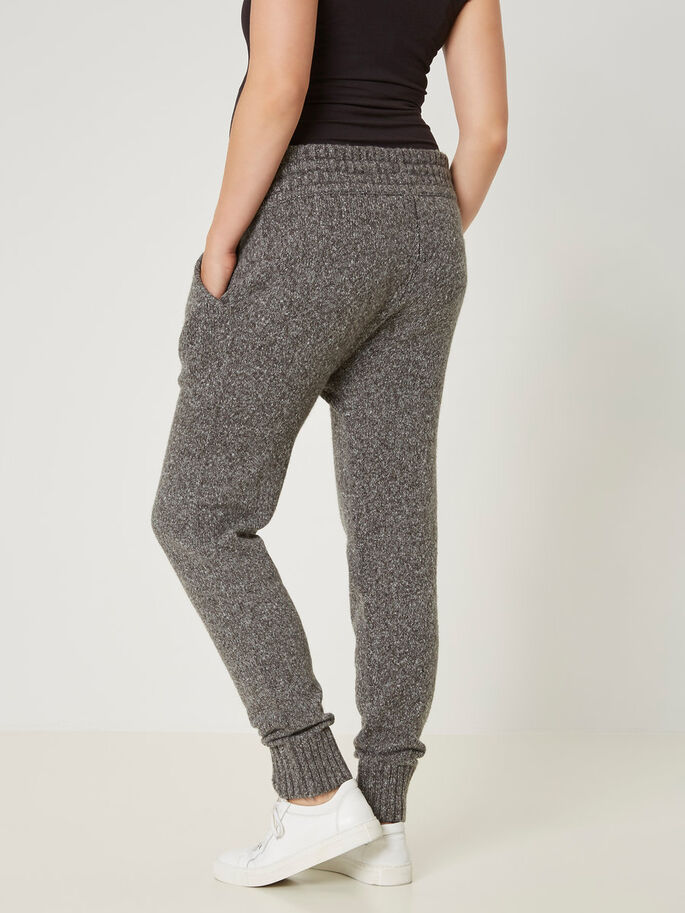 KNITTED MATERNITY PANTS, Medium Grey Melange, large