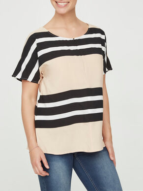 STRIPED WOVEN NURSING BLOUSE, SHORT SLEEVED