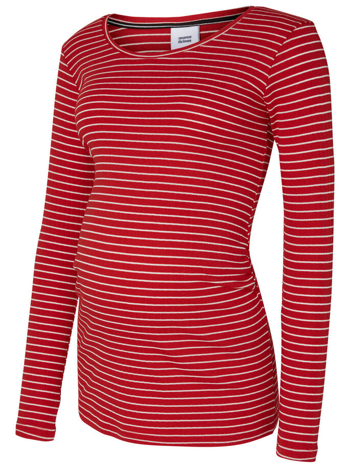 JERSEY MATERNITY TOP, LONG SLEEVED, Pompeian Red, large