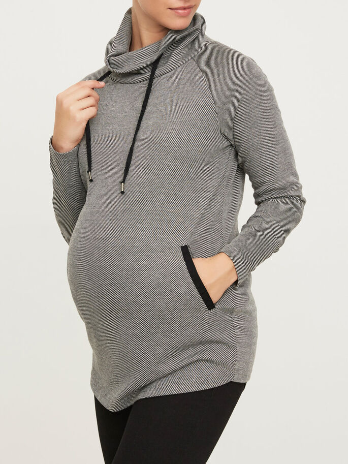 JERSEY MATERNITY TOP, Black, large