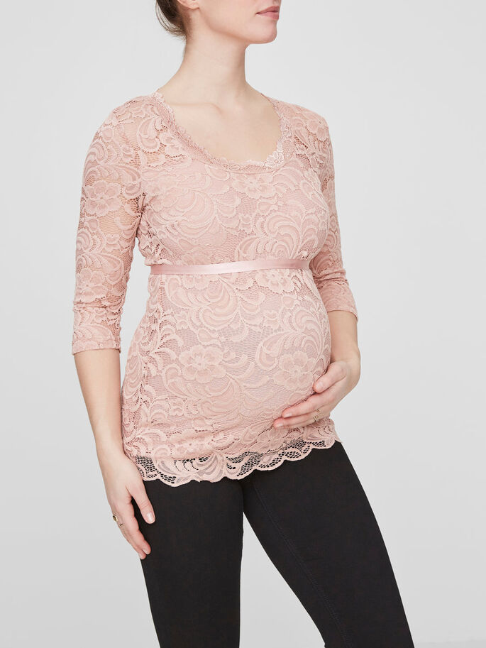 LACE MATERNITY TOP, Misty Rose, large