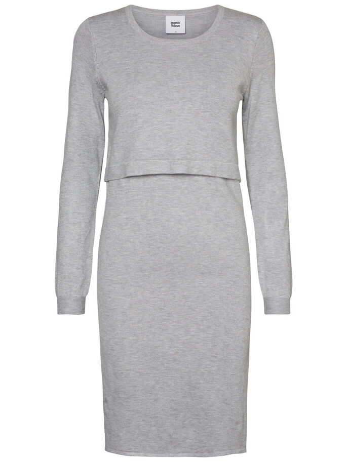 KNITTED NURSING DRESS, Light Grey Melange, large