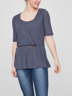 PEPLUM NURSING TOP, SHORT SLEEVED