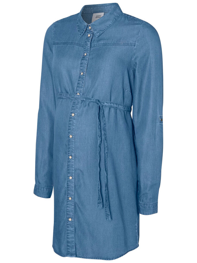 WOVEN MATERNITY TOP, Medium Blue Denim, large