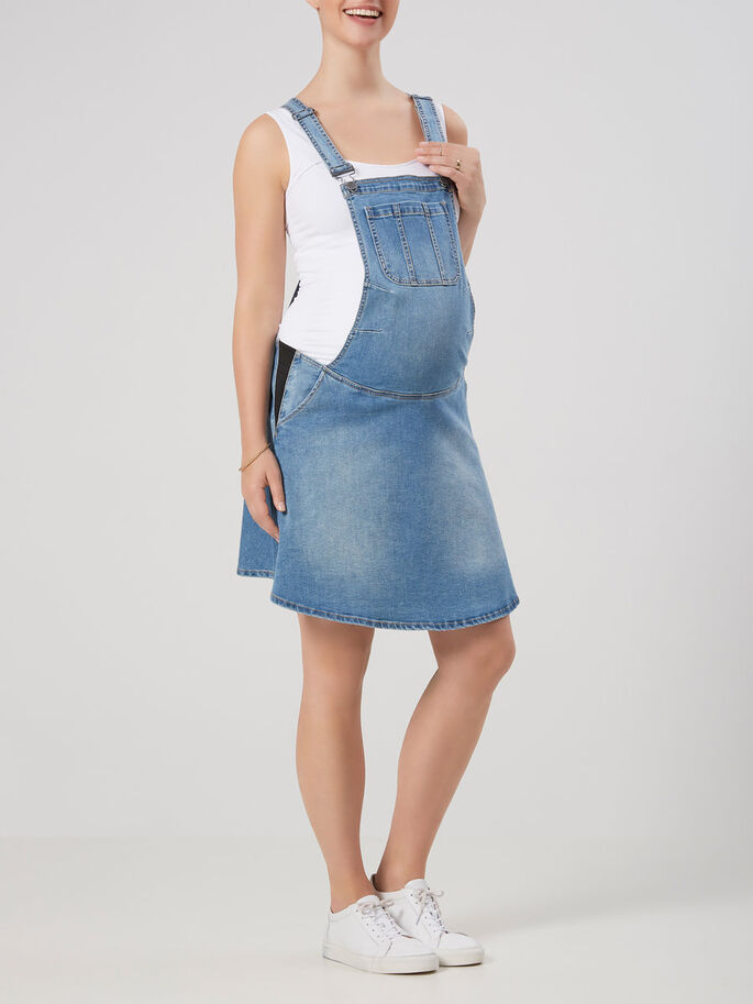 DENIM DRESS DUNGAREES, Medium Blue Denim, large