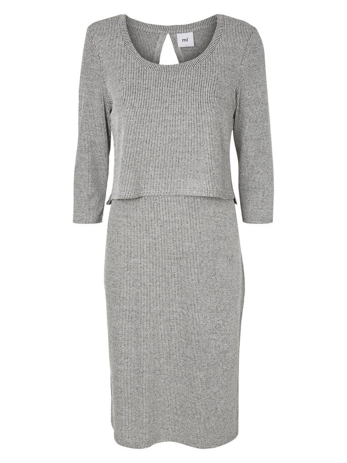 KNITTED NURSING DRESS, Medium Grey Melange, large