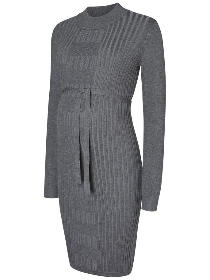 KNITTED MATERNITY DRESS, Medium Grey Melange, large