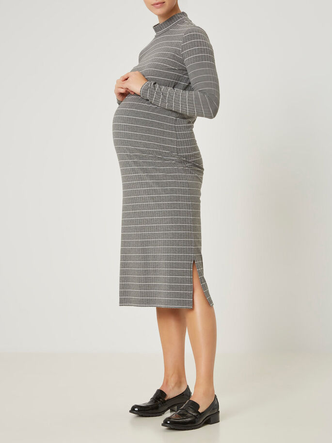 JERSEY MATERNITY DRESS, Medium Grey Melange, large