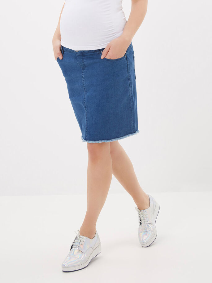 DENIM MATERNITY SKIRT, Medium Blue Denim, large