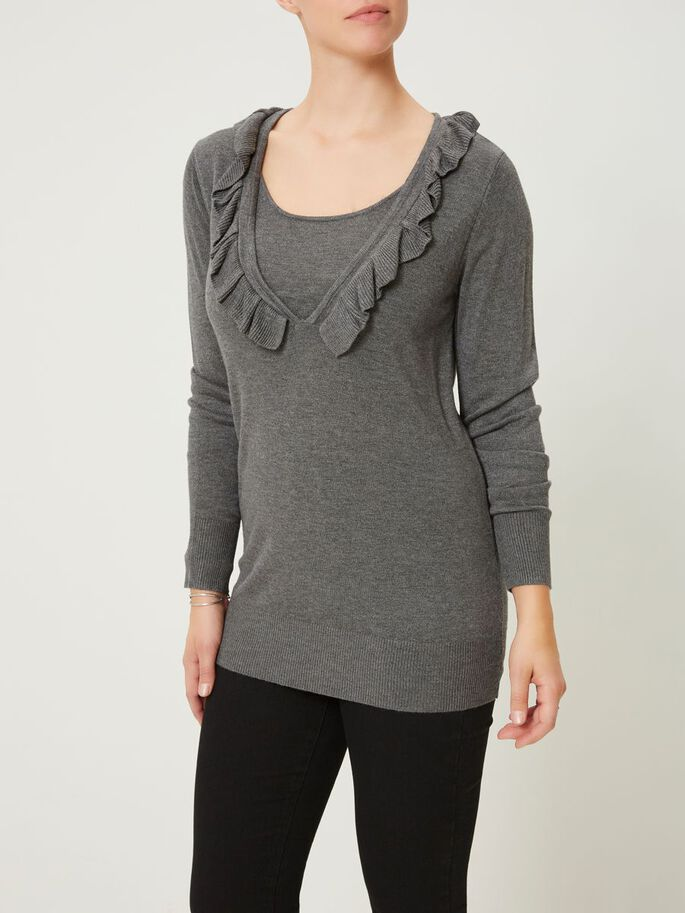 GESTRICKTE STILL-BLUSE, LANGARM, Medium Grey Melange, large