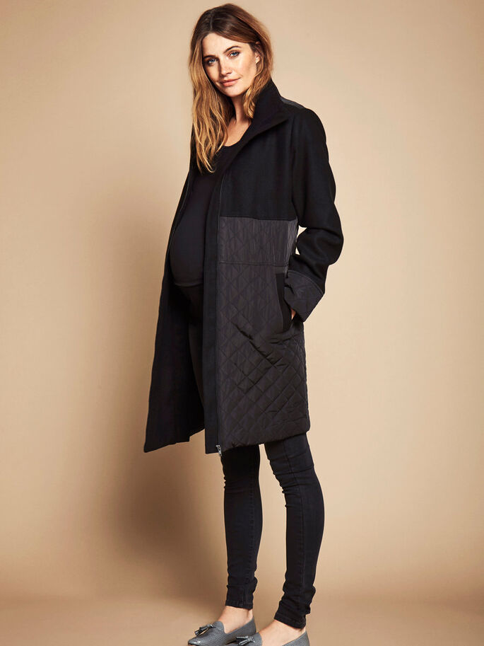 2-IN-1 JACKET MATERNITY COAT, Black, large
