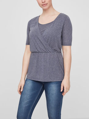CROSS OVER DETAILED NURSING TOP, SHORT SLEEVED