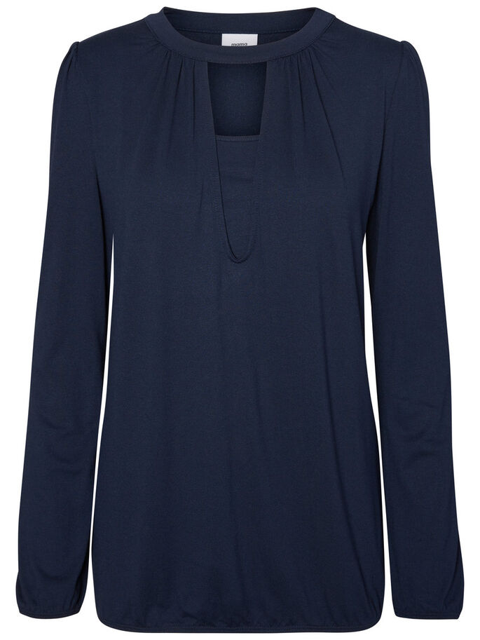 JERSEY NURSING BLOUSE, LONG SLEEVED, Navy Blazer, large