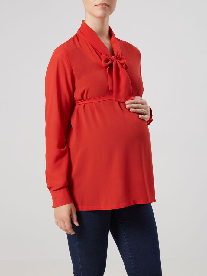 WOVEN MATERNITY TOP, Pompeian Red, large