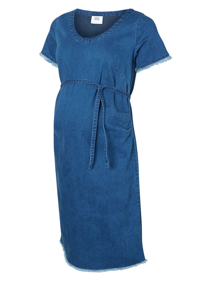 DENIM MATERNITY DRESS, Medium Blue Denim, large