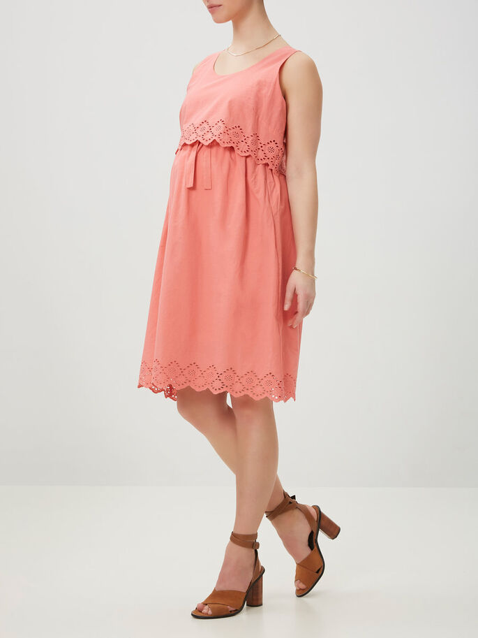WOVEN MATERNITY DRESS, SHORT, Tea Rose, large