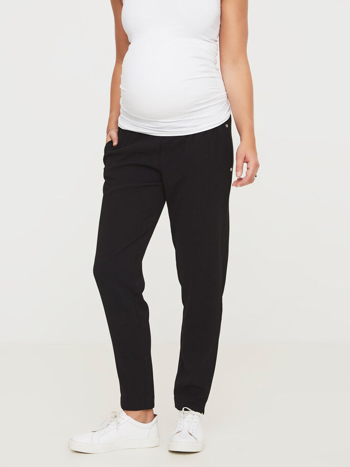 WOVEN MATERNITY PANTS, Black, large