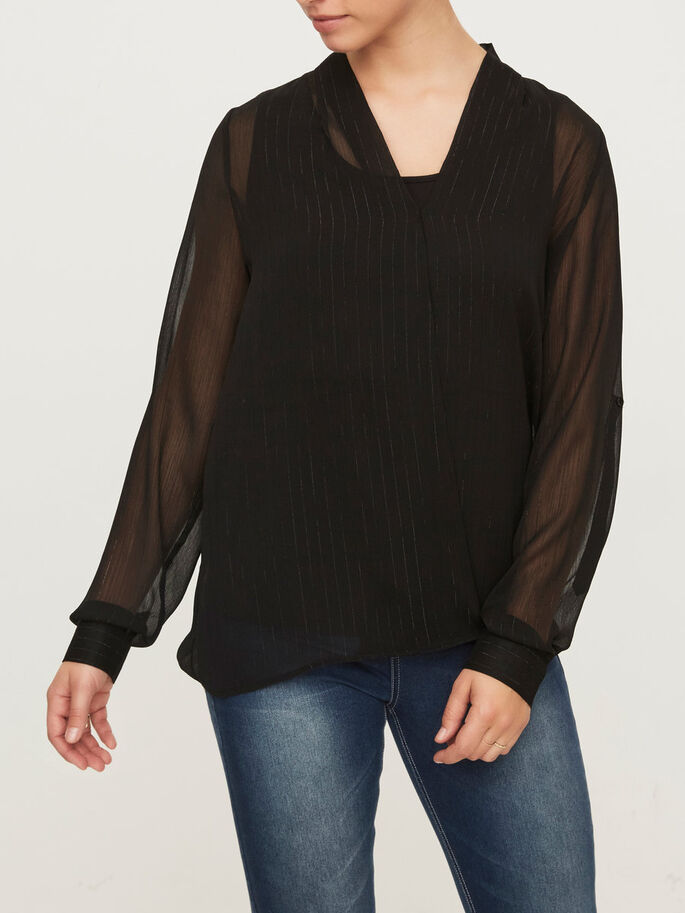 WOVEN NURSING BLOUSE, LONG SLEEVED, Black, large