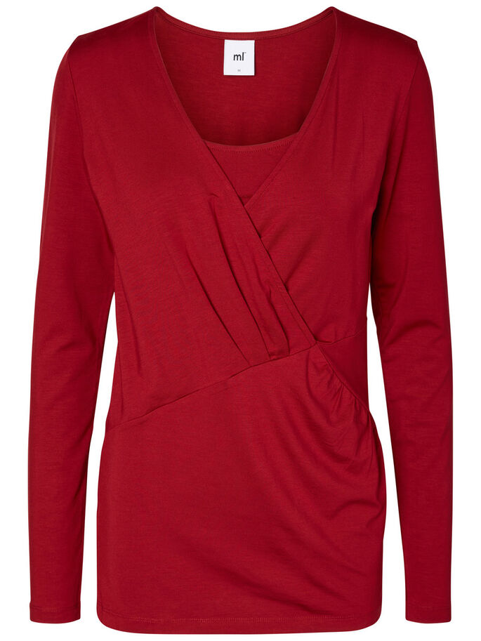 JERSEY NURSING TOP, LONG SLEEVED, Biking Red, large
