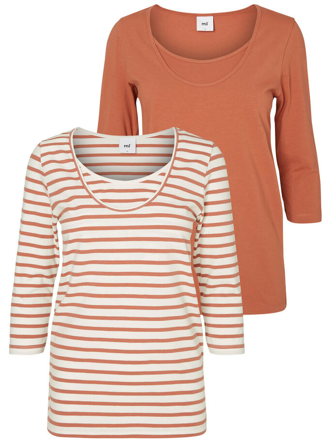 JERSEY NURSING TOP, 3/4 SLEEVED, Cedar Wood, large
