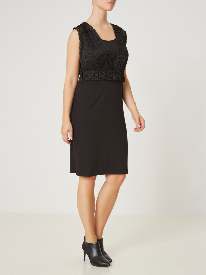 MIX DRESS NURSING DRESS, Black, large