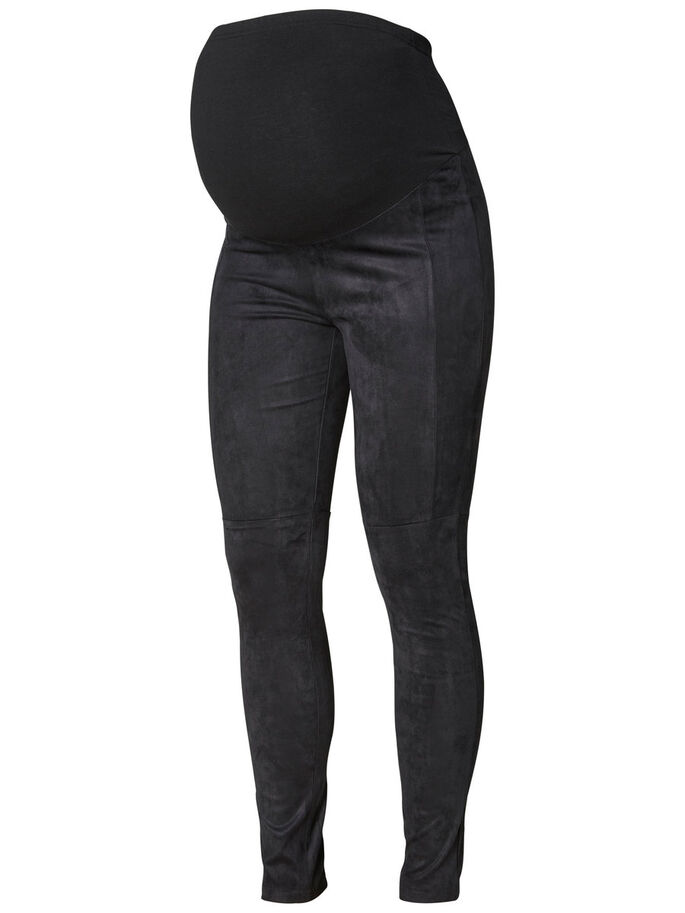 COTTON MATERNITY LEGGINGS, Black, large