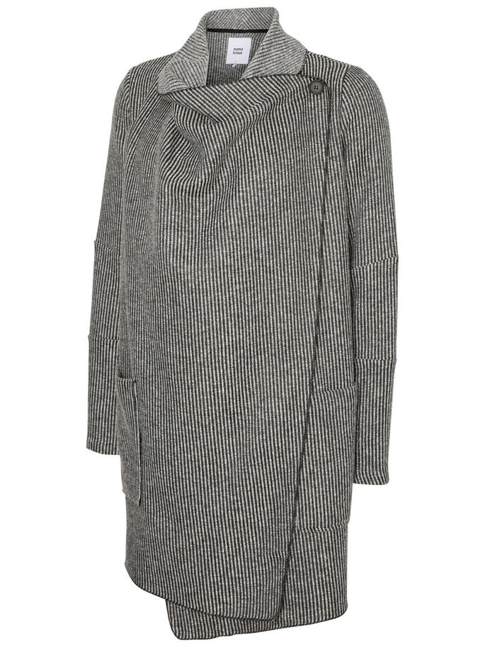 WOVEN MATERNITY CARDIGAN, Dark Grey Melange, large