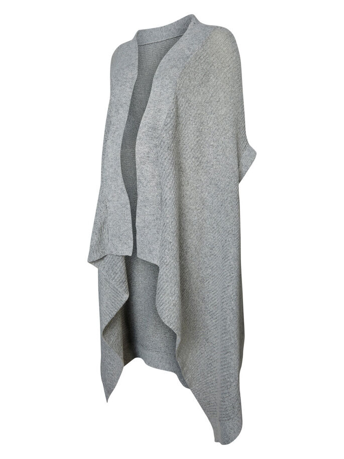 KNITTED PONCHO, Light Grey Melange, large