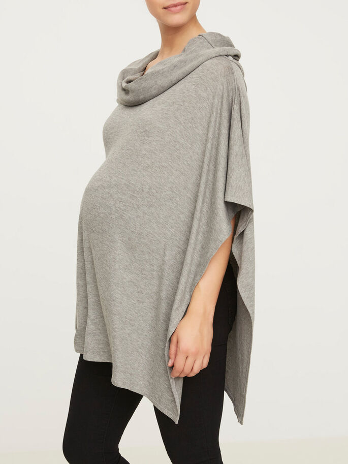 GESTRICKTER PONCHO, Medium Grey Melange, large