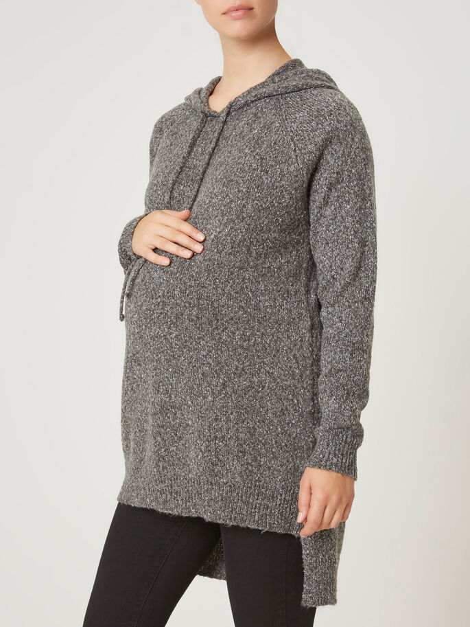 KNITTED MATERNITY TOP, Medium Grey Melange, large
