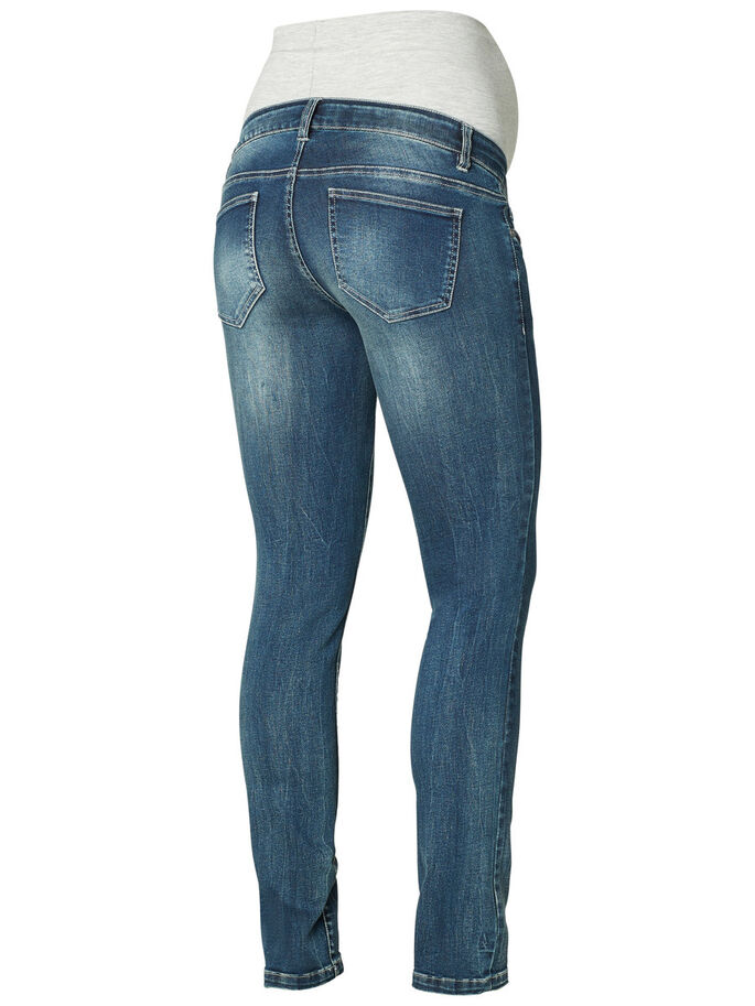 STRAIGHT MATERNITY JEANS, Medium Blue Denim, large