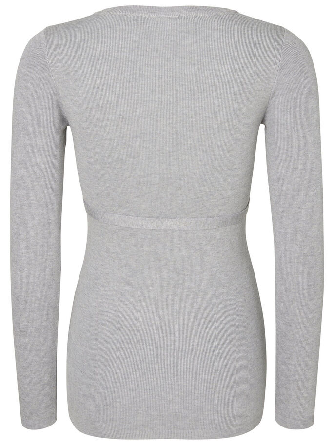 KNITTED MATERNITY TOP, Light Grey Melange, large