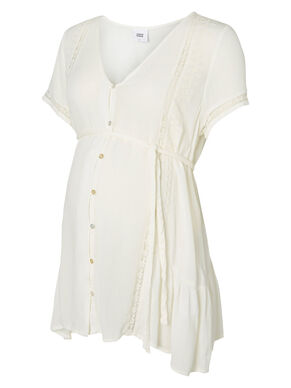 WOVEN MATERNITY TOP, SHORT SLEEVED