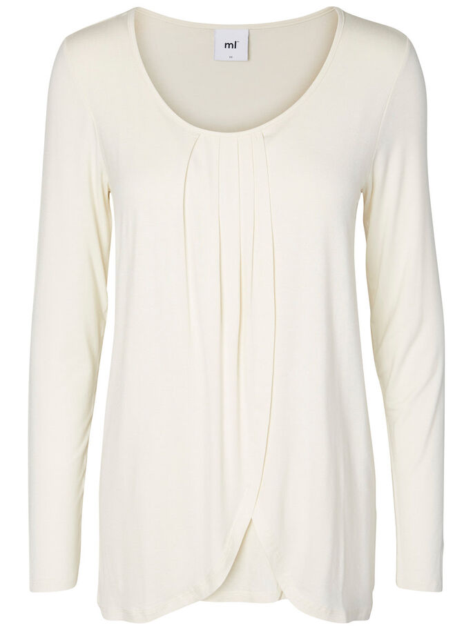 JERSEY NURSING TOP, LONG SLEEVED, Antique White, large