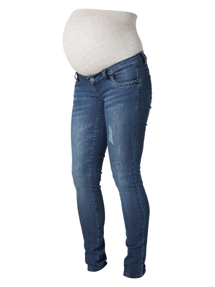 SLIM MATERNITY JEANS, Dark Blue Denim, large