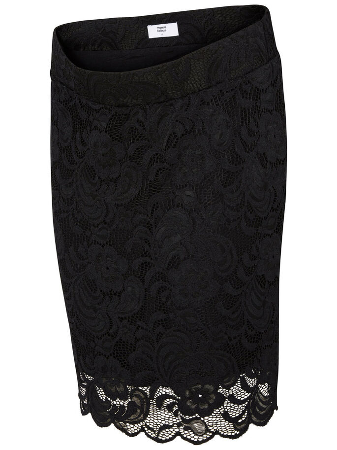 LACE MATERNITY SKIRT, SHORT, Black, large