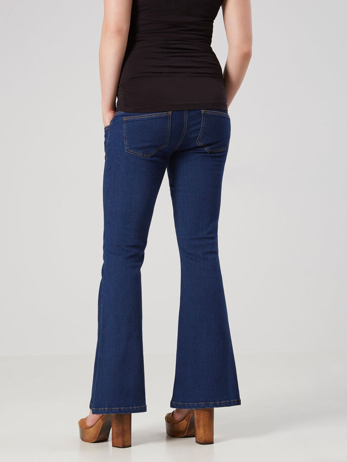 FLARED MATERNITY JEANS, Medium Blue Denim, large