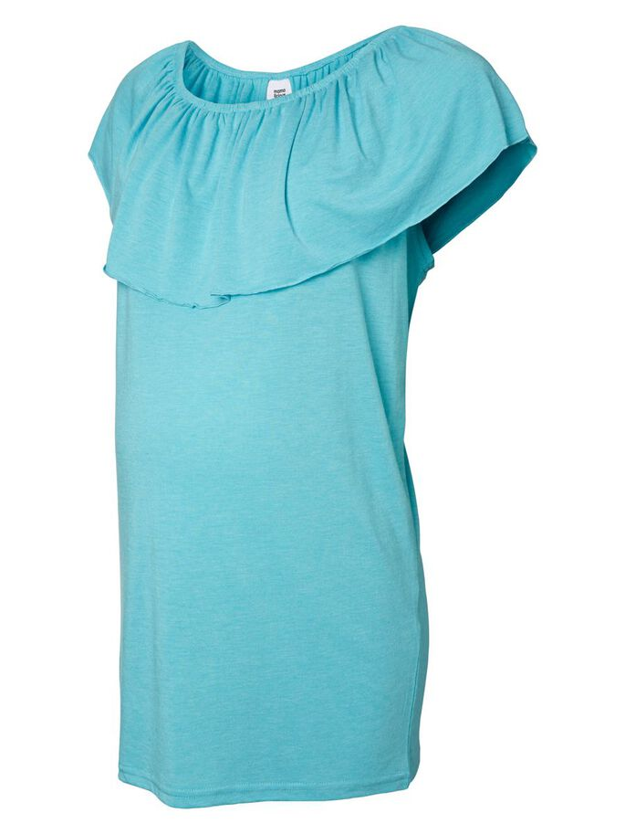 JERSEY MATERNITY TOP, SHORT SLEEVED, Peacock Blue, large