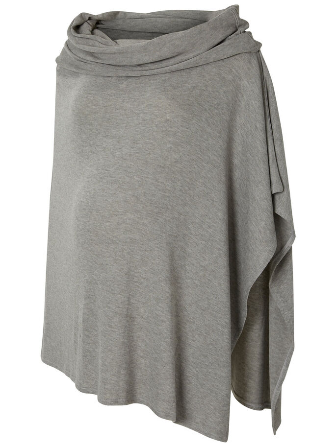 GEBREIDE PONCHO, Medium Grey Melange, large