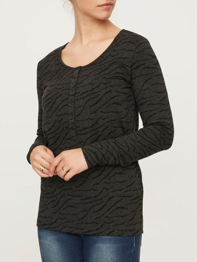 JERSEY NURSING TOP, LONG SLEEVED, Black, large