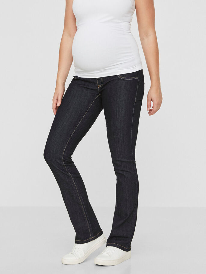BOOTCUT MATERNITY JEANS, Dark Blue Denim, large