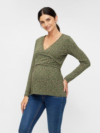 ABSTRACT PRINTED 2-IN-1 MATERNITY TOP