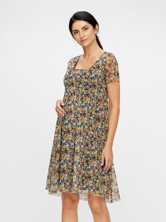 FLORAL SQUARE NECK MATERNITY MINI DRESS