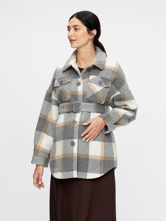 CHECKED OVERSHIRT MATERNITY JACKET