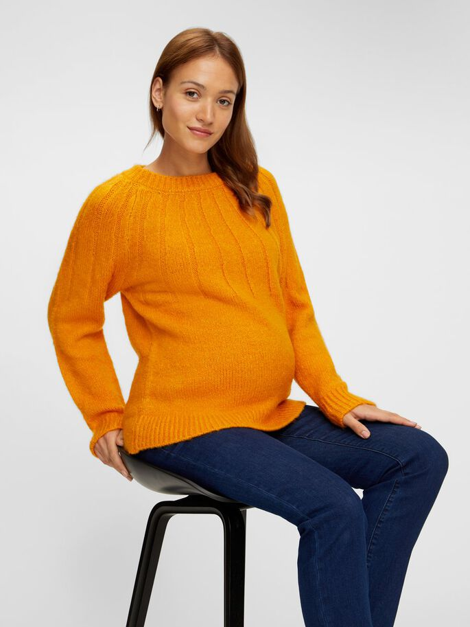 KNITTED MATERNITY PULLOVER, Autumn Blaze, large